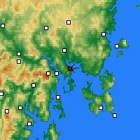 Nearby Forecast Locations - Hobart - Kaart