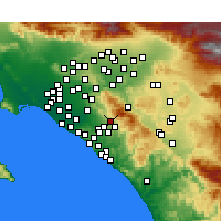Nearby Forecast Locations - Foothill Ranch - Kaart