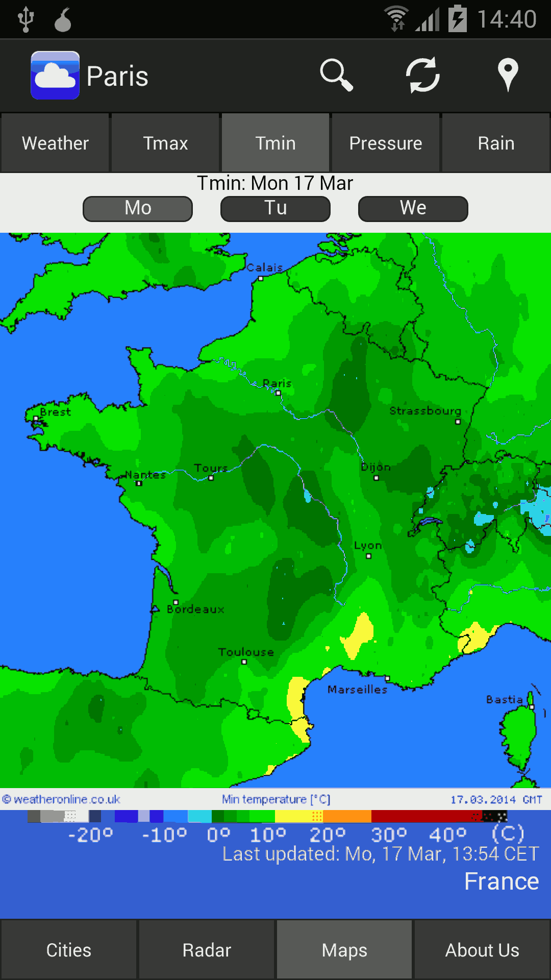 mobile temperature (min) map